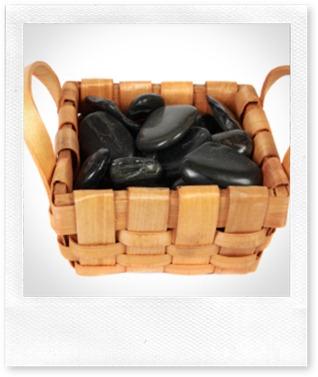 Basket of river stones