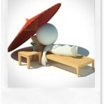 3d small people - rest on a chaise lounge